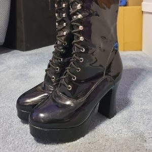Goth knee-high lace-up boots
